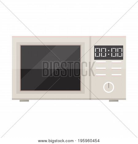 Vector microwave oven. White microwave isolated on white background. Flat design vector illustration