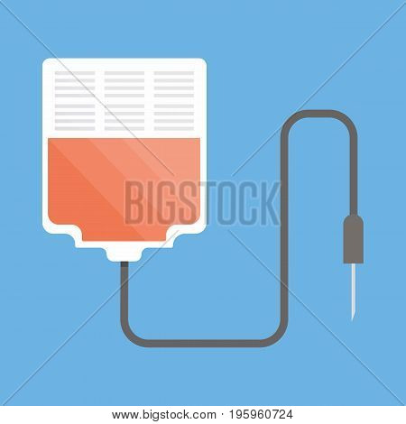Blood Bag icon vector illustration in flat style