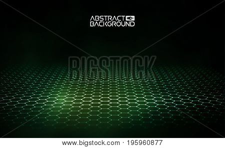 3D glowing abstract digital particles. Futuristic vector illustration. HUD element. Technology concept. Artificial intelligence.