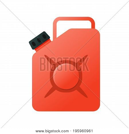 Canister funnel fuel icon. Metal canister of gasoline cartoon flat vector canister illustration