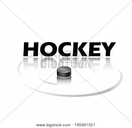 Hockey title background with black Hockey pack and shadow isolated on white. Vector illustration. Hockey text, black pack logo