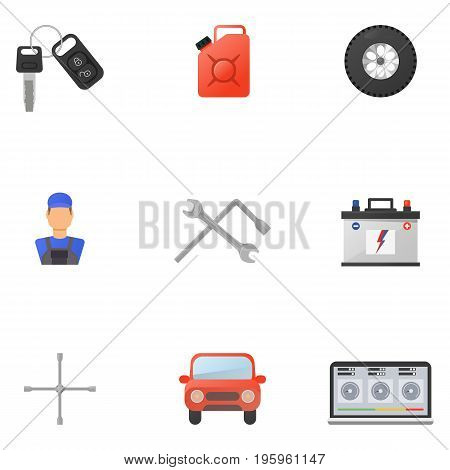 Car Service Flat Icons Set for Poster Web Site Advertising like Laptop diagnostics tow truck battery and mechanic. isolated vector illustration