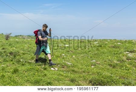 Young man with nordic sticks hiking in Apuseni Mountains in TransylvaniaRomania.