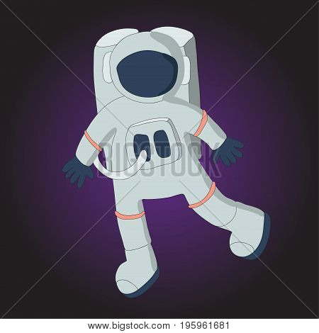 Astronaut in a spacesuit. Vector illustration on dark background.