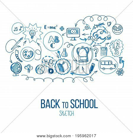 Back to School infographic. Vector illustration of school supplies and subjects interaction. Sketch design for web and mobile services. Icons for online education, learning infographics, web banners