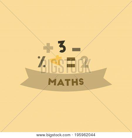 flat icon on stylish background math lesson