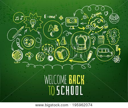 Education scheme infographic and Back to school typography on green chalkboard. Vector illustration of school supplies and subjects interaction. Sketch design concept for web and mobile services
