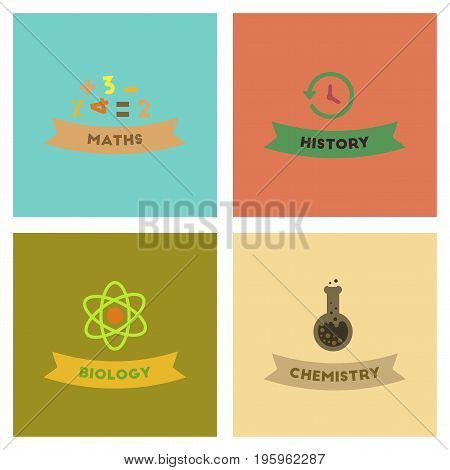 assembly of flat icons school history math biology chemistry lesson