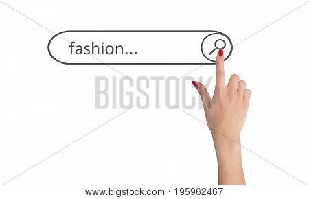 Woman's hand looks for fashion on line
