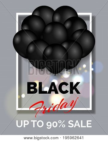 Black friday shopping poster background. Sale banner or flyer promotion template with black balloons vector illustration