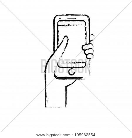 figure smartphone digital technology to communication in the hand vector illustration