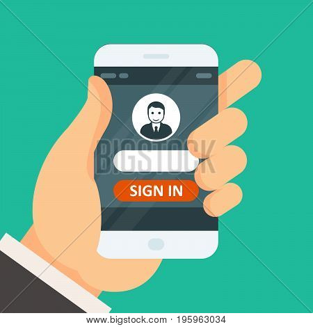 Sign in on smartphone - user icon and password entering