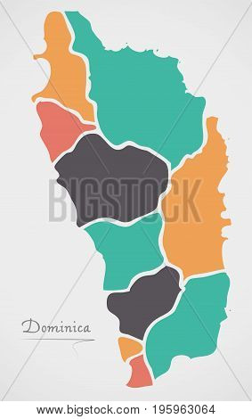 Dominica Map With States And Modern Round Shapes