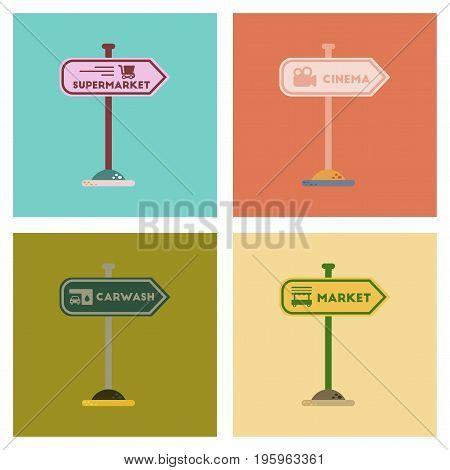 assembly of flat icons sign of market car wash cinema supermarket