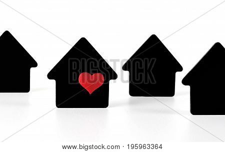 Black house symbols on white background with red heart