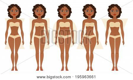 African American girl, body figures. Woman shapes, five types hourglass, triangle, inverted triangle, rectangle, pear rounded Vector illustration