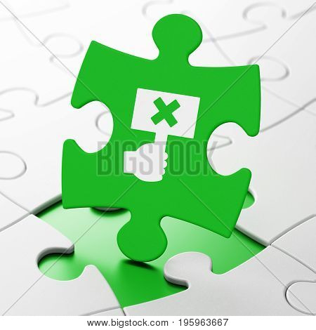 Politics concept: Protest on Green puzzle pieces background, 3D rendering
