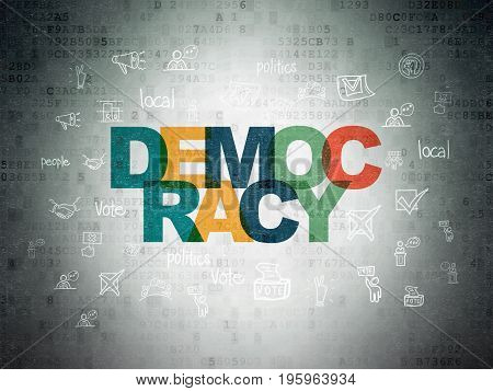 Political concept: Painted multicolor text Democracy on Digital Data Paper background with  Hand Drawn Politics Icons