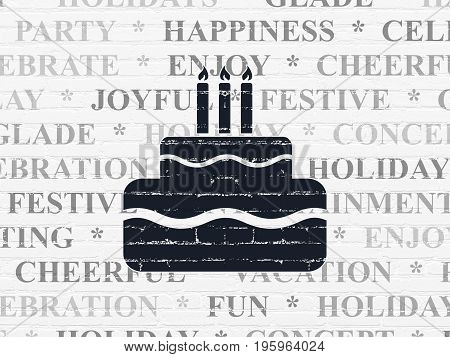 Holiday concept: Painted black Cake icon on White Brick wall background with  Tag Cloud