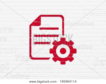 Programming concept: Painted red Gear icon on White Brick wall background with  Tag Cloud