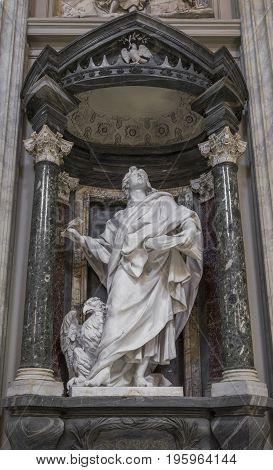 The statue of St. John by Rusconi in the Archbasilica St.John Lateran San Giovanni in Laterano in Rome. Rome Italy June 2017