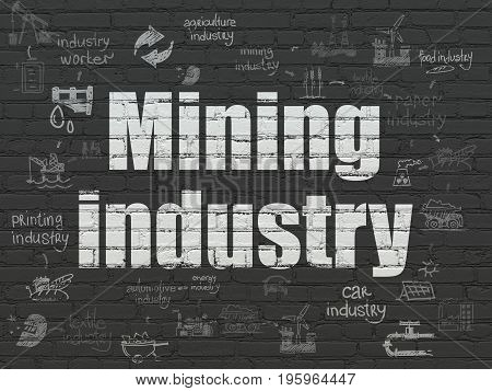 Industry concept: Painted white text Mining Industry on Black Brick wall background with Scheme Of Hand Drawn Industry Icons