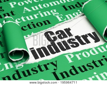 Industry concept: black text Car Industry under the curled piece of Green torn paper with  Tag Cloud, 3D rendering