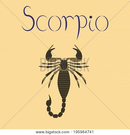 flat illustration on stylish background animal Scorpio poster