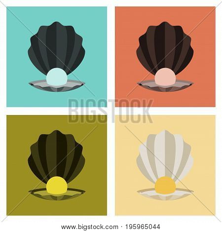 assembly of flat Illustrations ocean pearl mussel