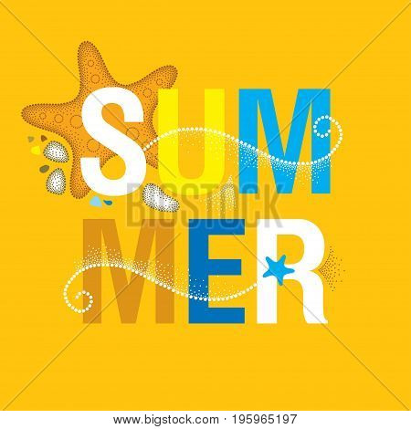 Vector summer banner in trendy dotwork style. Square composition with abstract dotted waves, starfish, pebble, swirls on the orange background. Aquatic theme with marine fauna for summer fun design.