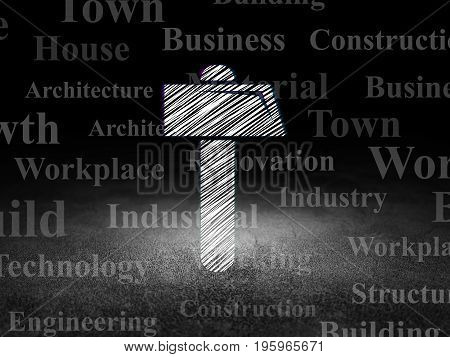 Building construction concept: Glowing Hammer icon in grunge dark room with Dirty Floor, black background with  Tag Cloud
