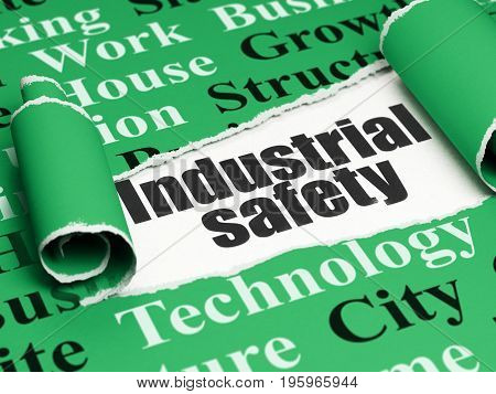 Construction concept: black text Industrial Safety under the curled piece of Green torn paper with  Tag Cloud, 3D rendering