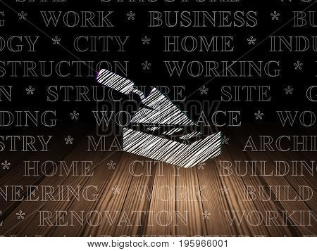 Construction concept: Glowing Brick Wall icon in grunge dark room with Wooden Floor, black background with  Tag Cloud