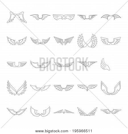 Wings set on white background in thin line style. Heraldic flat wings. Element for logo, label and emblems design. Vector illustration.