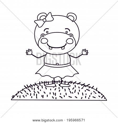 sketch silhouette scene landscape and grass with caricature cute expression female hippo in skirt with bow lace vector illustration