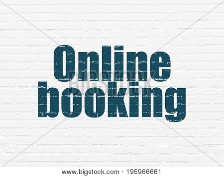 Travel concept: Painted blue text Online Booking on White Brick wall background