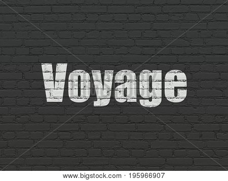 Tourism concept: Painted white text Voyage on Black Brick wall background