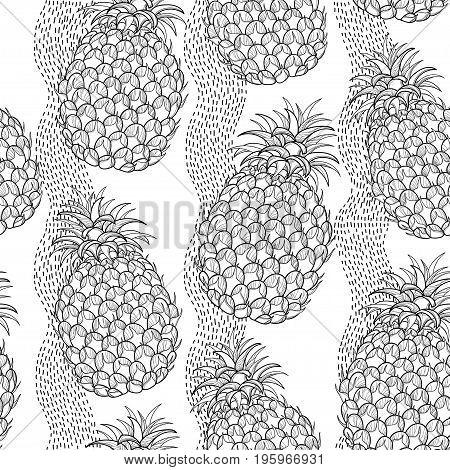 Vector seamless pattern with outline Ananas or Pineapple and stripes on the white background. Fruit pattern with perennial tropical plant in contour style for exotic summer design and coloring book.