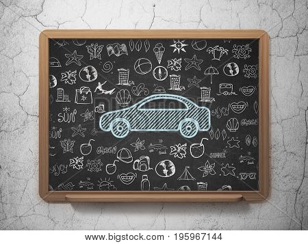 Tourism concept: Chalk Blue Car icon on School board background with  Hand Drawn Vacation Icons, 3D Rendering