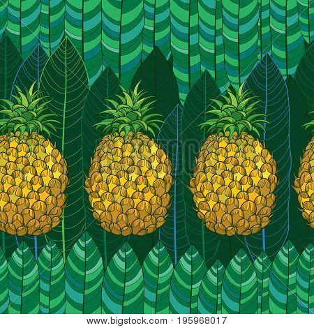 Vector seamless pattern with outline yellow Ananas or Pineapple and palm leaves on the green background. Fruit pattern with perennial tropical plant in contour style for exotic summer design.