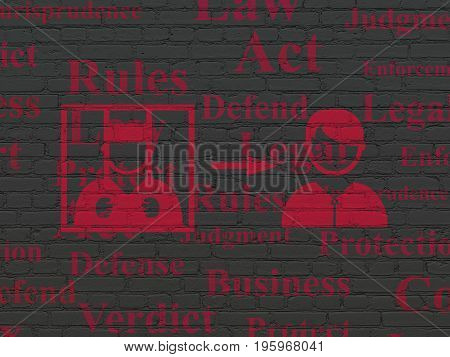 Law concept: Painted red Criminal Freed icon on Black Brick wall background with  Tag Cloud