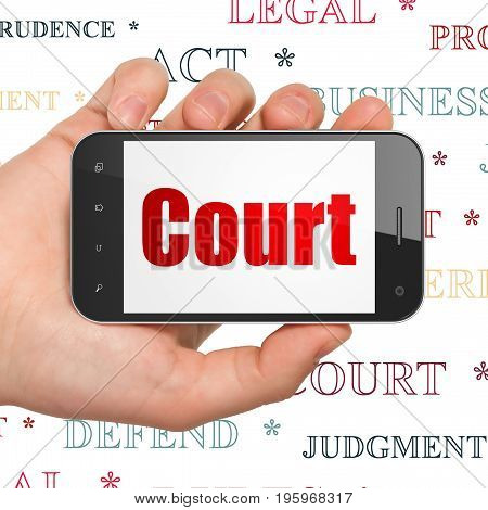 Law concept: Hand Holding Smartphone with  red text Court on display,  Tag Cloud background, 3D rendering