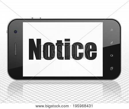 Law concept: Smartphone with black text Notice on display, 3D rendering