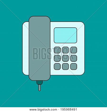 flat icon on stylish background office phone