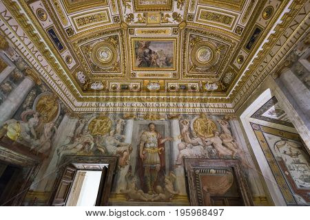 Castle Saint Angelo interior in Rome. Italy on June 2017