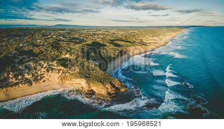 Aerial panorama of beautiful ocean coastline in Melbourne Australia