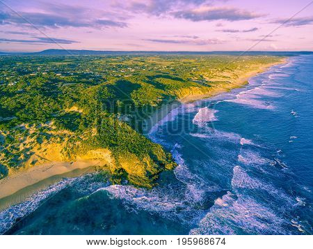 Aerial view of rugged coastline at sunset. Melbourne Australia