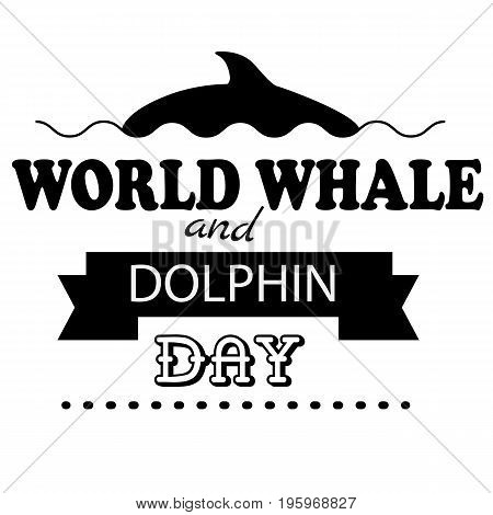 World Whale Dolphin day emblem isolated vector illustration on white background. 23 july animal rights protection holiday event label, greeting card decoration graphic element