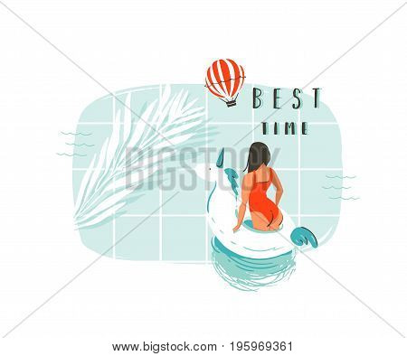Hand drawn vector abstract summer time fun cartoon illustration with young girl, unicorn float buoy ring, tropical palm leaf in swimming pool.Best time modern typography isolated on white background.