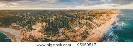 Aerial panorama of Rye suburb on Mornington Peninsula at sunset. Melbourne Australia